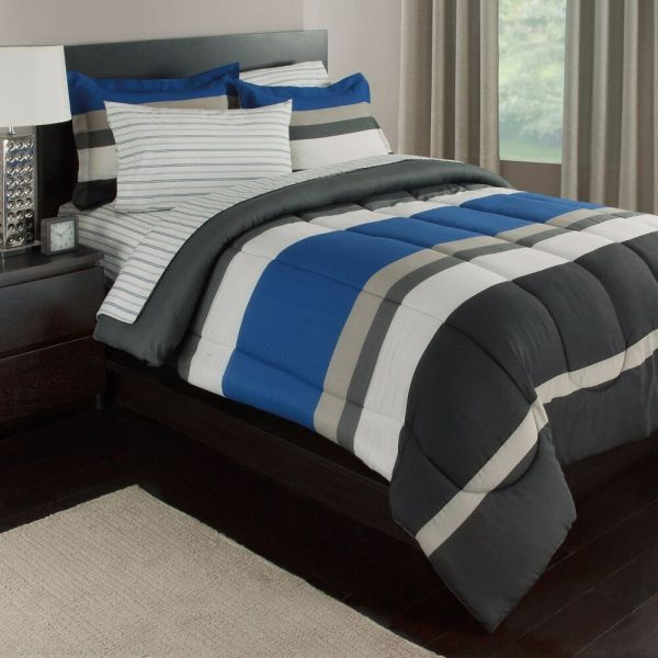 Blue White & Gray Stripes Boys Teen Twin Comforter Set 5 Piece Bed In Bag