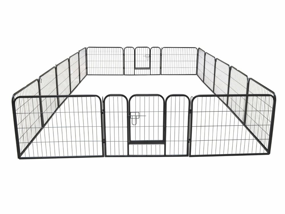 16 Panel Large Metal Pet Dog Cat Exercise Barrier Fence