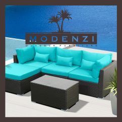 Sofa W Chaise Mid Century Bed Australia 6pc Outdoor Patio Furniture Sectional Rattan Wicker ...