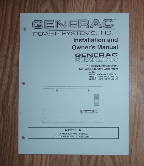 small resolution of generac 04389 0 04456 0 04390 0 guardian standby generator owners manual 3 ebay
