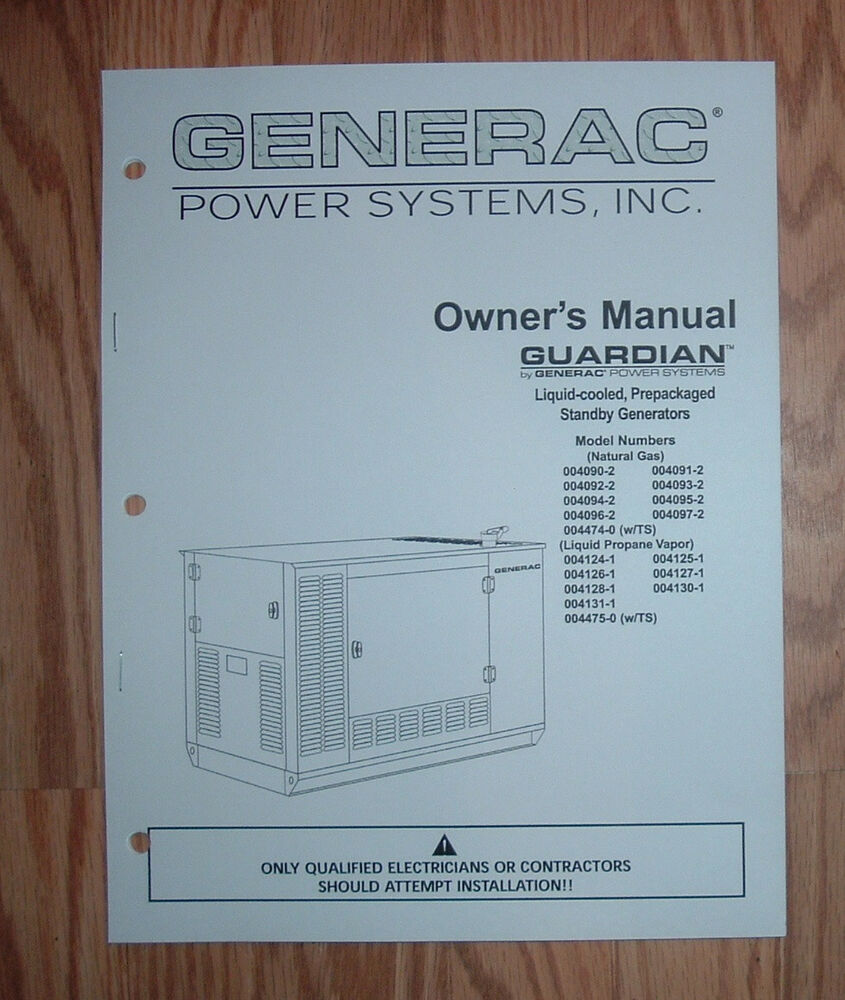 hight resolution of generac guardian model 004124 1 standby generator owners parts list manual ebay