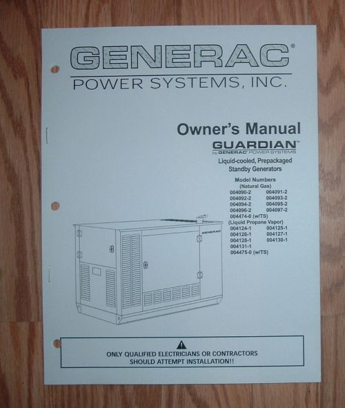 small resolution of generac guardian model 004124 1 standby generator owners parts list manual ebay