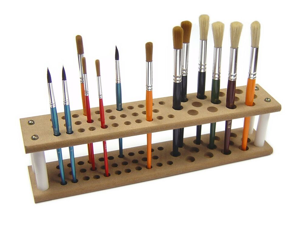 Artist Wooden Paint Brush Stand Holder Holds 45 Assorted