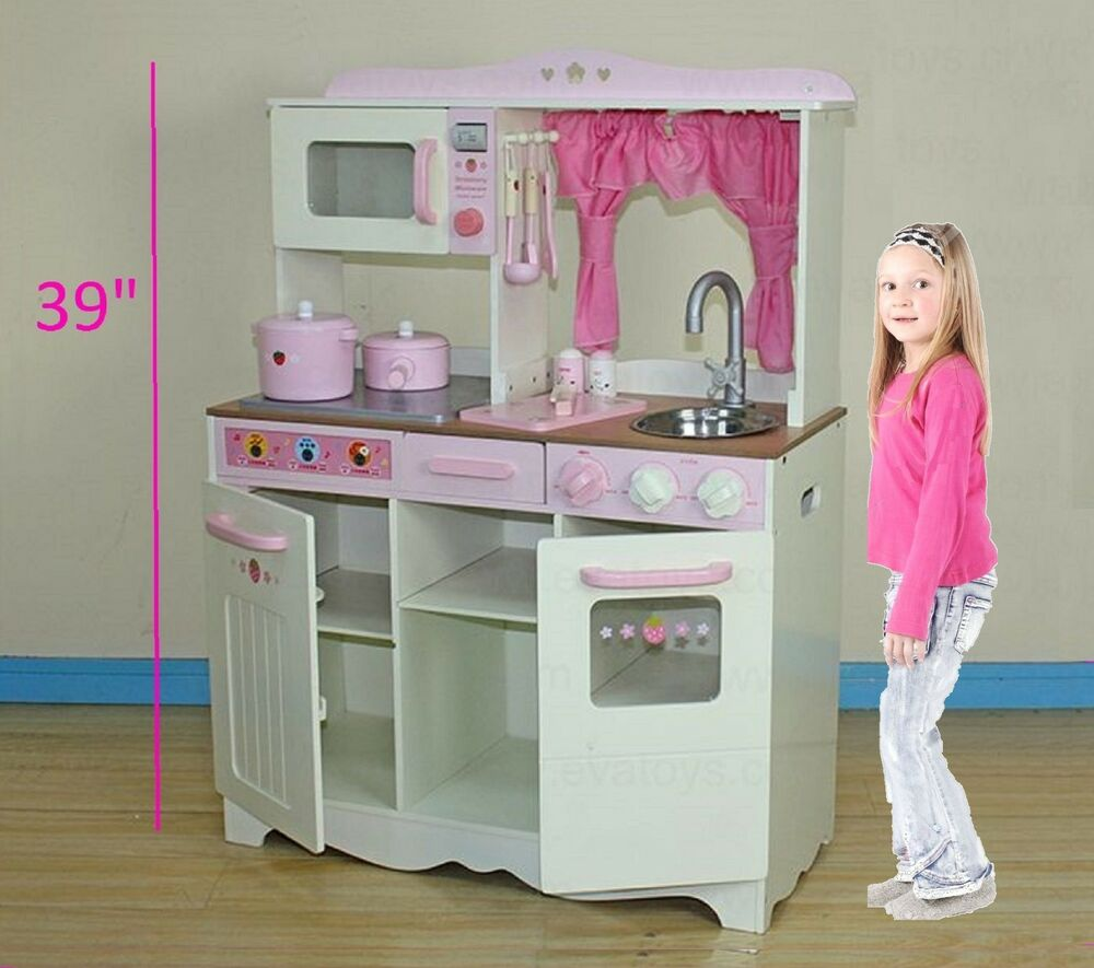 Large 39 In Kids Toy Wooden Kitchen Toy Cooking Solid Wood Playset Cookware Inc  eBay