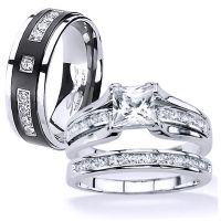 His and Hers Stainless Steel Princess Cut Wedding Ring Set