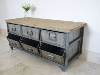 Industrial Style Metal & Wood Storage Cabinet on Wheels