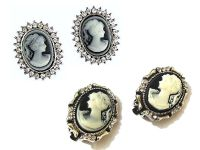 Cameo Earrings Vintage Antique Victorian Style Diamante
