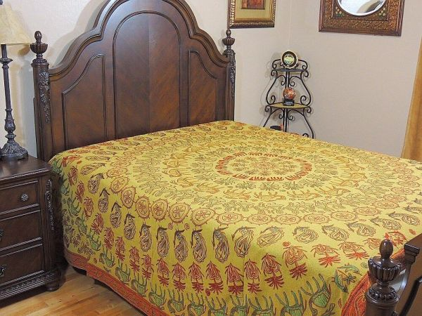 Ethnic Embroidered Rajasthan Bedding India Bedspread