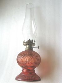 KEROSENE TABLE MANTEL LAMP HONG KONG GLASS