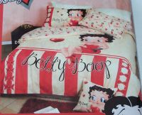 Betty Boop Candy Stripe Cream Red Printed Queen Bed Quilt ...