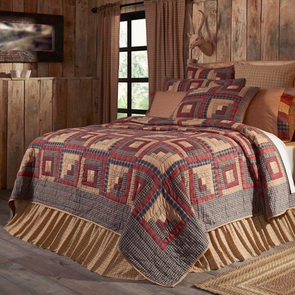 Millsboro Queen Quilt Primitive Plaid Burgundy Tan Rustic Farmhouse Log Cabin