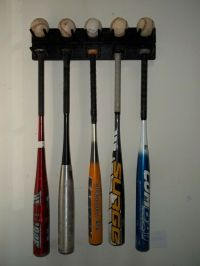 BASEBALL BAT RACK DISPLAY HOLDER UP TO 9 BATS 5 BALLS WALL