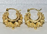 9ct Yellow Gold Victorian Style Gypsy Creole Earrings - | eBay