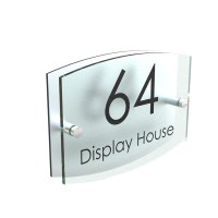 House Number Plaque Glass Effect Acrylic Sign Door Plate ...