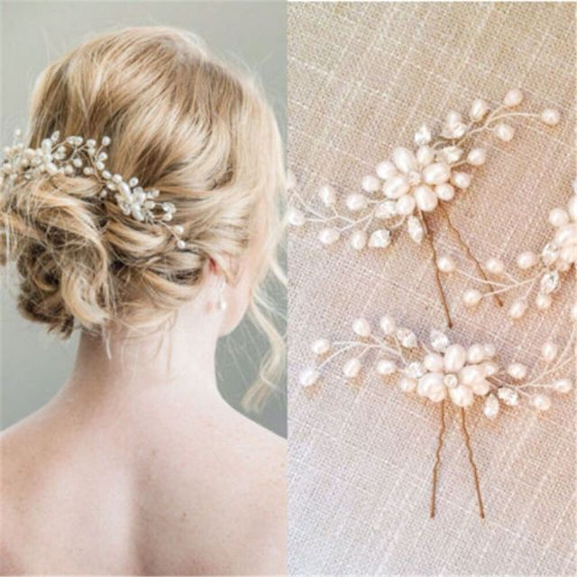 fashion bridal hair accessories pearl flower hair pin stick wedding jewelry u87 | ebay
