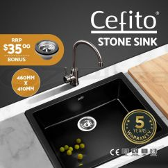 Stone Kitchen Sink Black Hardware For Cabinets Cefito 460x410mm Granite Top Undermount Details About Stainless Steel