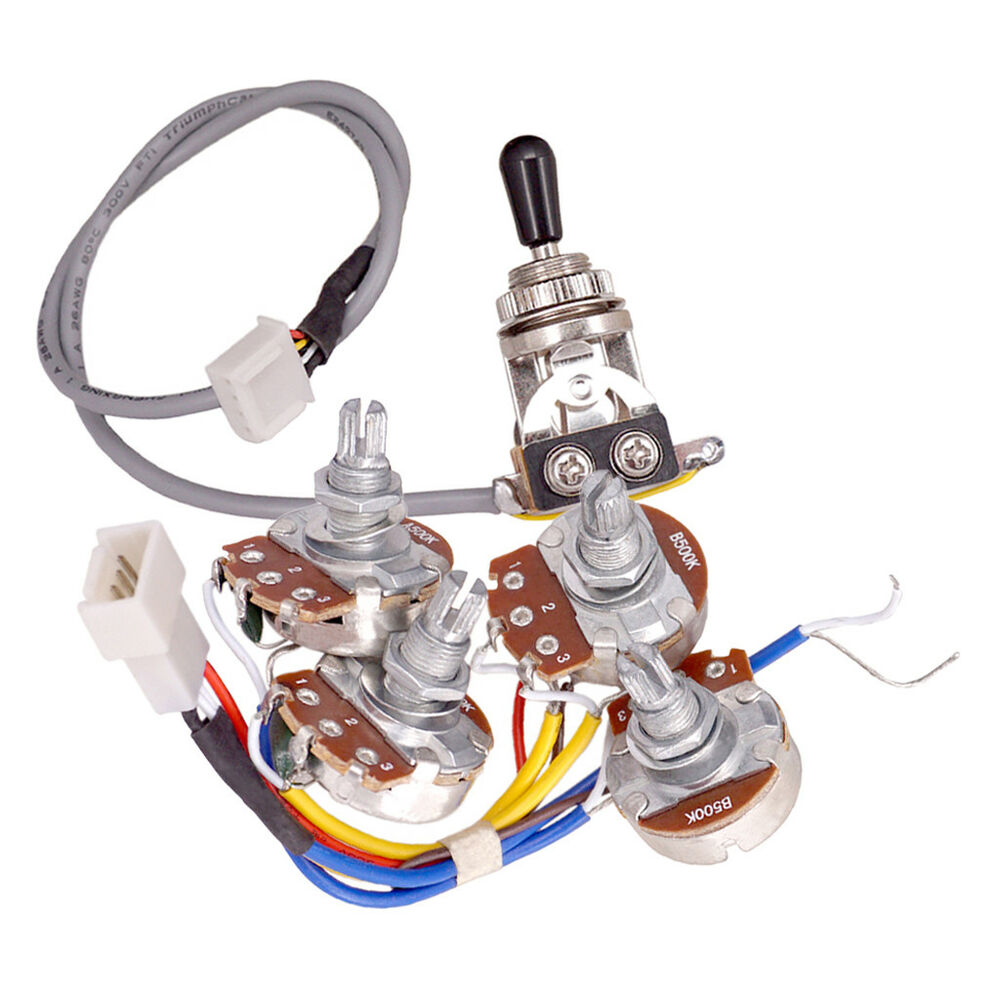hight resolution of details about electric guitar accs circuit wiring kit a500k b500k pots 3 way toggle switch