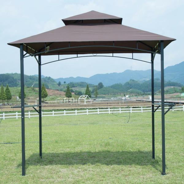 Brown 8'x 5'bbq Grill Gazebo Barbecue Canopy Bbq Tent With Air Vent F85 848837014667