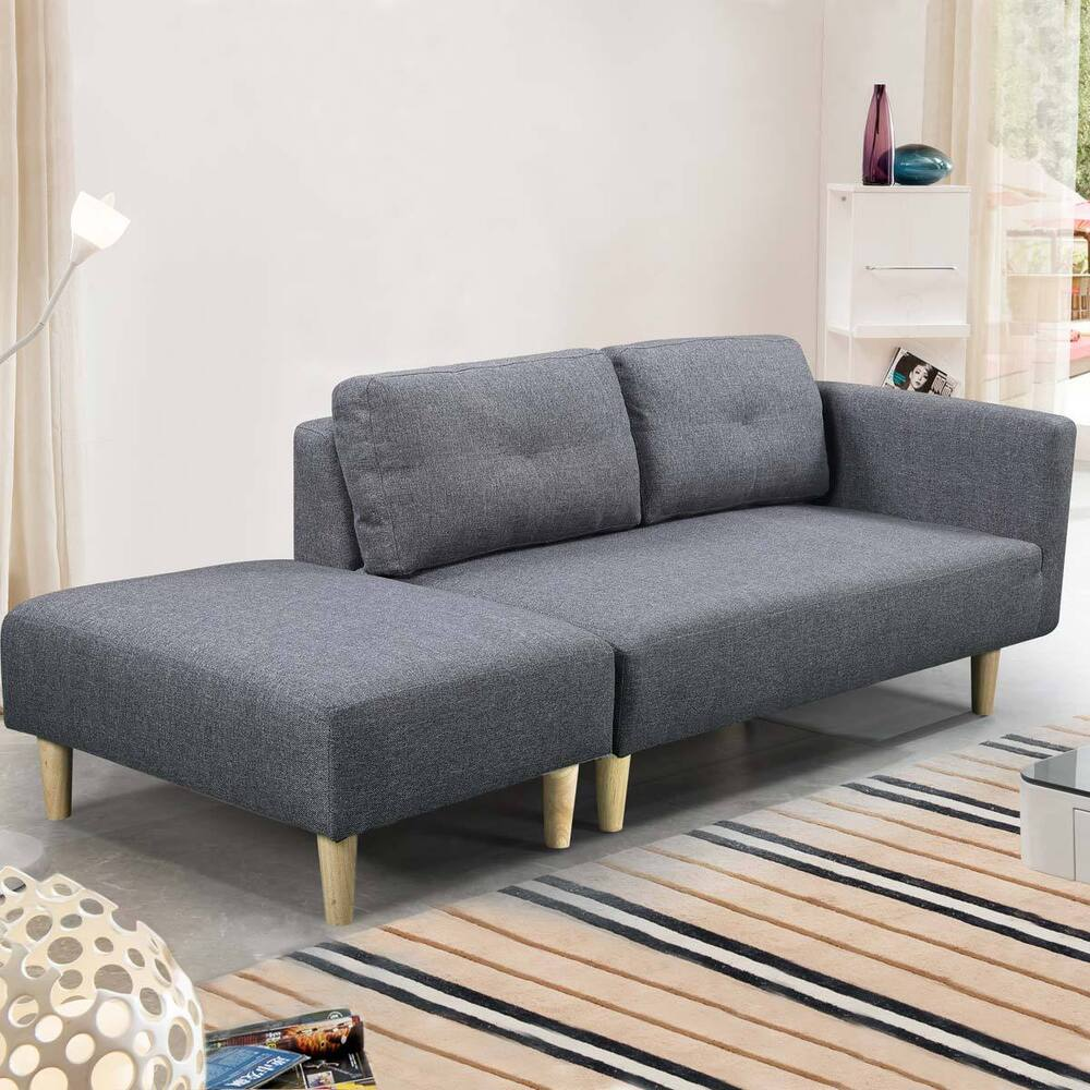 Modern 2 3 Seater Small Sofa Couch Grey Fabric