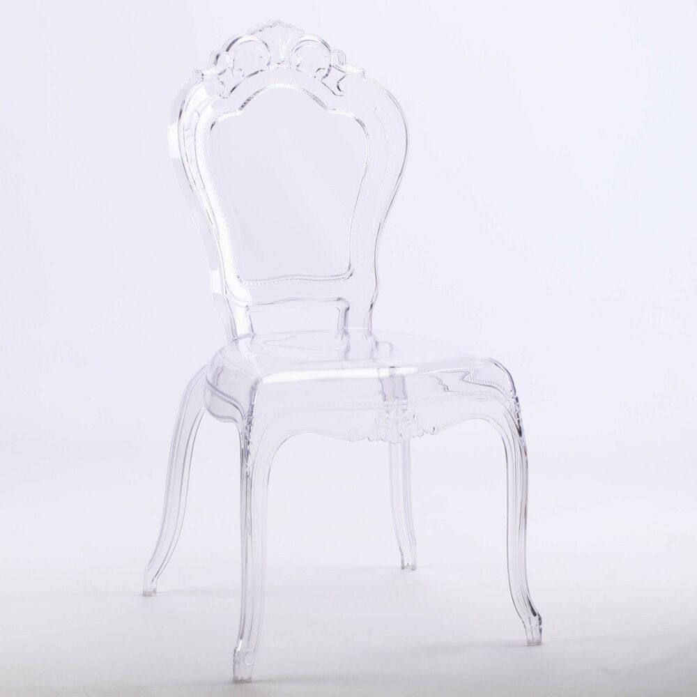 Clear Vanity Chair French Louis Bella Clear Ghost Dining Occasional Vanity Chair Transparent Ebay