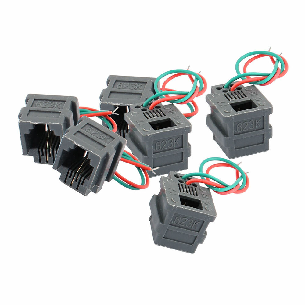 hight resolution of details about 6pcs rj11 6p2c universal adapter female socket wire cable connector w 2 wires