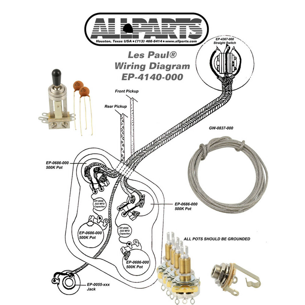 medium resolution of wiring kit gibson les paul complete with schematic diagram pots gibson les paul studio wiring diagram gibson les paul wiring kit