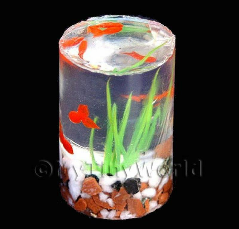 15 Resin Gold Fish Tank Doll House Miniatures CYL1 EBay