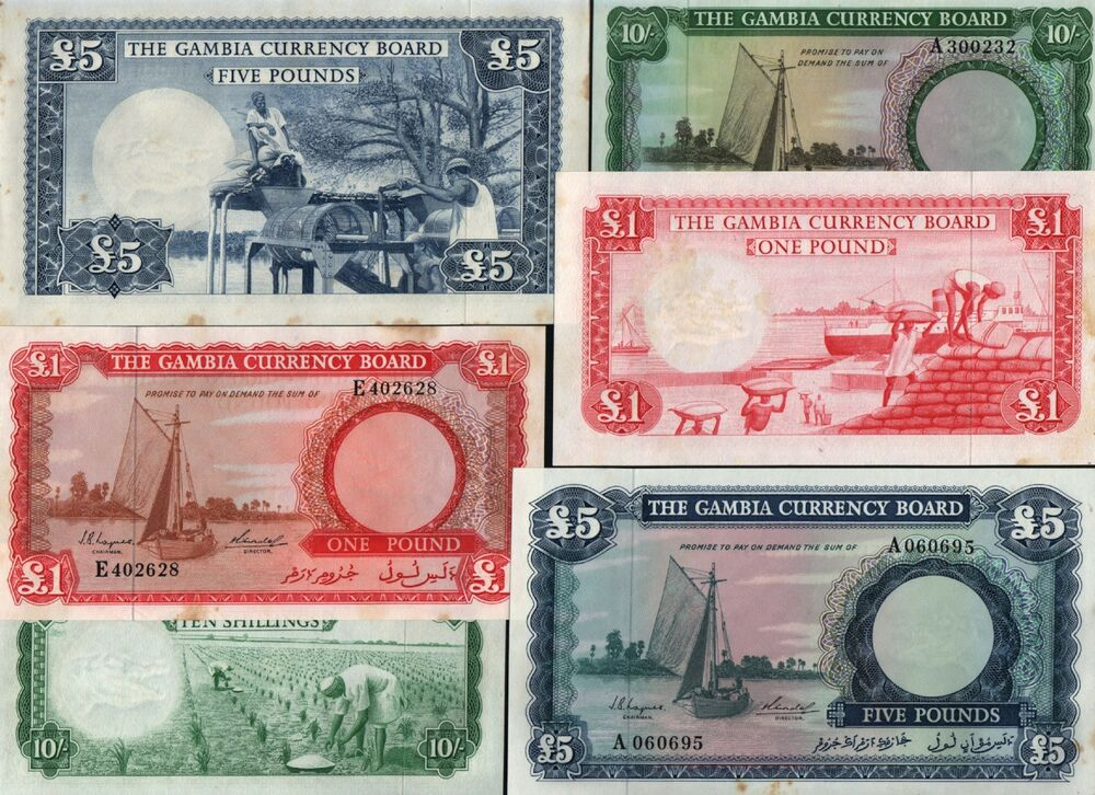 GAMBIA AFRICA 10 1 5 POUNDS P1 2 3 1965 BOAT UNC RARE