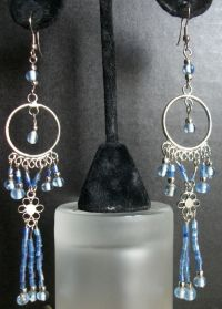 Light Blue Turquoise Teal Dangle Chandelier Earrings ...