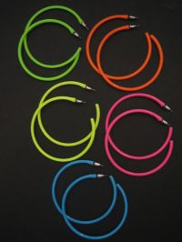 Hoop Earrings Neon 1980's Retro Large Bright Funky Ladies