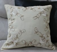 Rose Embroidered Pillow Cover Case Accent Decorative ...