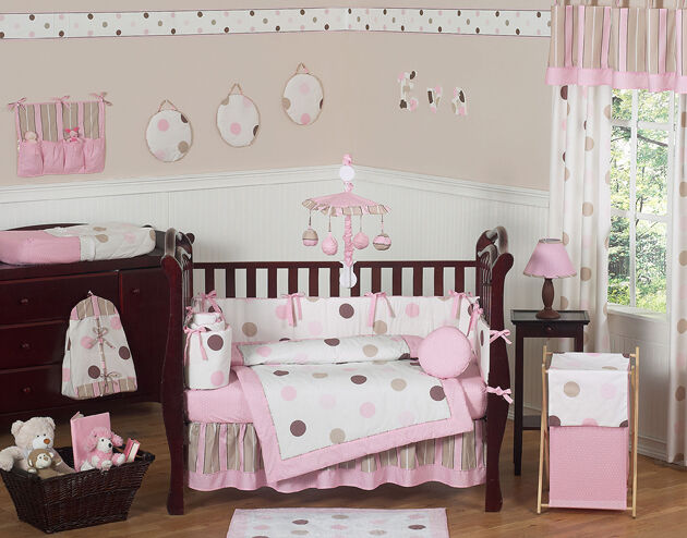 MODERN PINK AND BROWN POLKA DOT 9pc BABY GIRL CRIB BEDDING