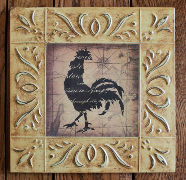 Rustic Accent Home Decor Wood Framed Art Rooster Kitchen Plaque Sign