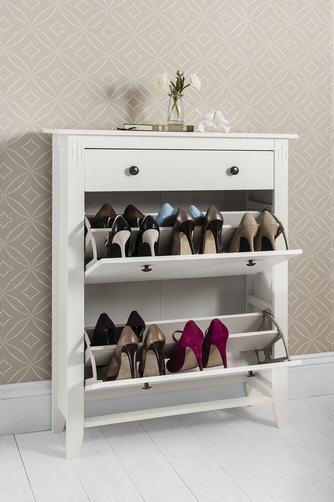 Shoe Storage Cabinet Deluxe with Storage Drawer Cotswold in White  eBay