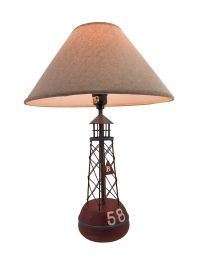 Red Buoy Nautical Table Lamp with Linen Shade | eBay