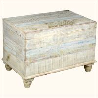 Old Reclaimed Wood White Storage Box Trunk Coffee Table ...