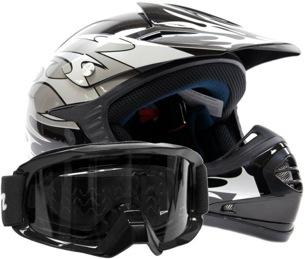 Youth Helmet Atv Dot Motocross Dirtbike Silver Flames With Black Goggles