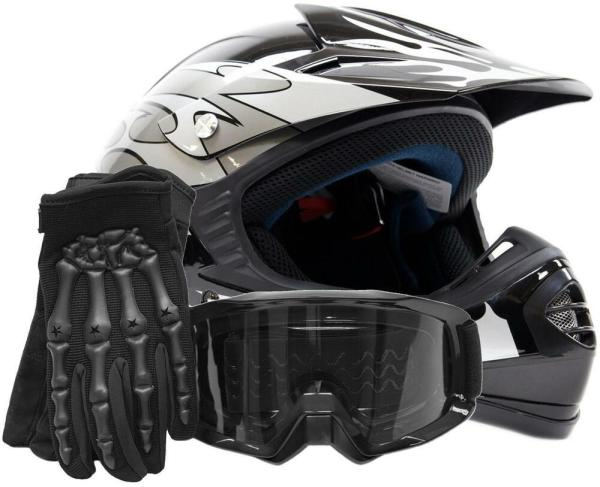 Youth Kids Dot Helmet Goggles Gloves Combo Offroad Atv Silver Flames