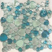1SF-Blue Iridescent Random Pattern Glass Mosaic Tile ...