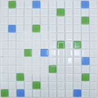 White Green Blue Mix Glass Mosaic Tile for Bathroom ...