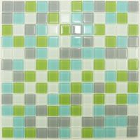 Gray, White, Green, Turquoise Mix Glass Mosaic Tile ...
