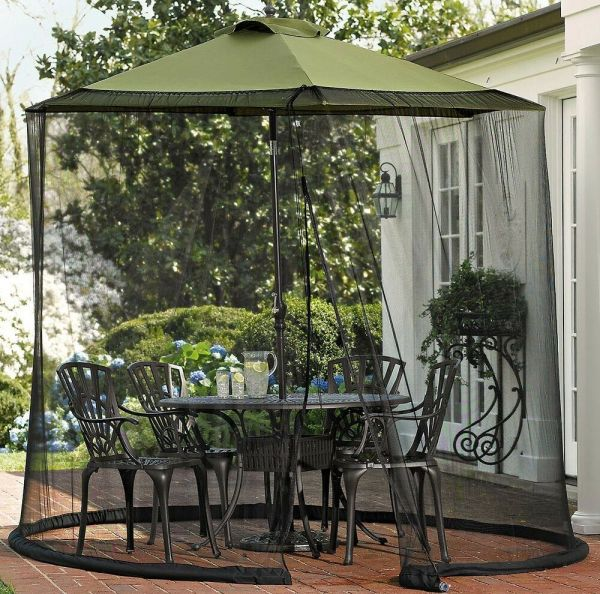 Zippered Outdoor Bug Screen Patio Table & Umbrella