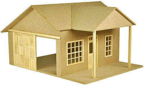 Dollhouse Retro Garage kit with Sliding Door window by