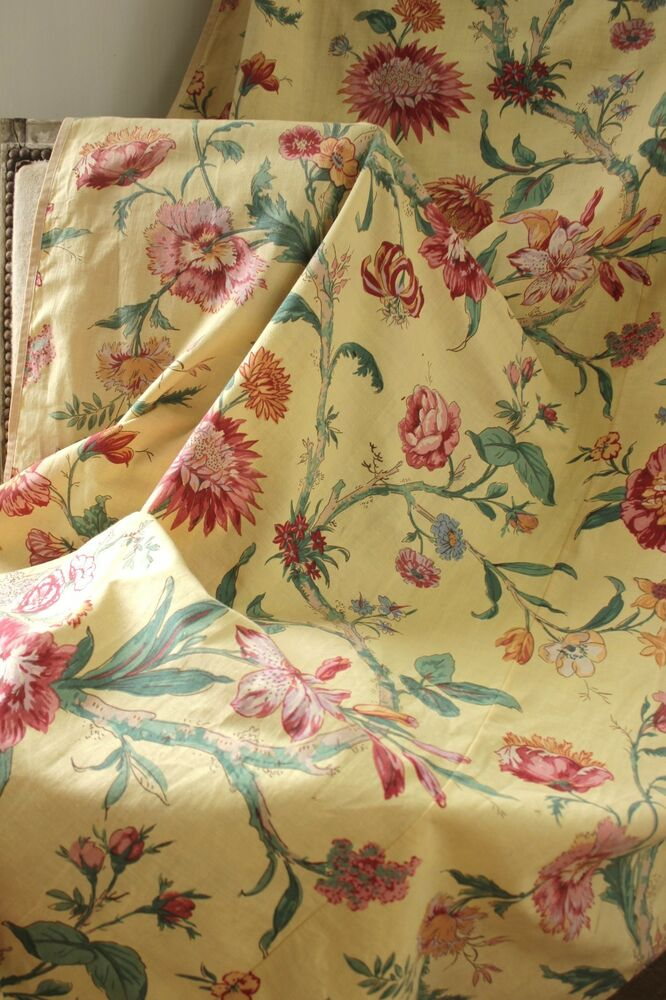 Vintage French floral yellow ground fabric curtain drape c1940s textile  eBay