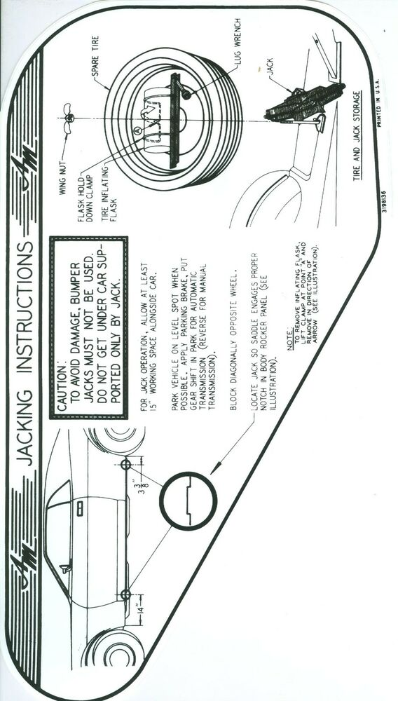 1970 AMX/JAVELIN JACK INSTRUCTION WITH SPACE SAVER SPARE