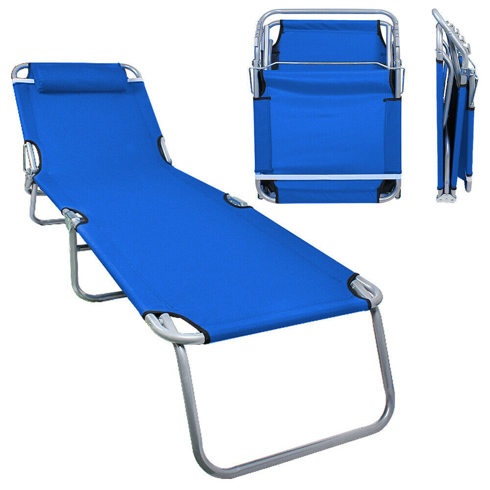 folding lawn chair lounger chicago stool inc portable ostrich outdoor chaise lounge pool beach patio blue | ebay
