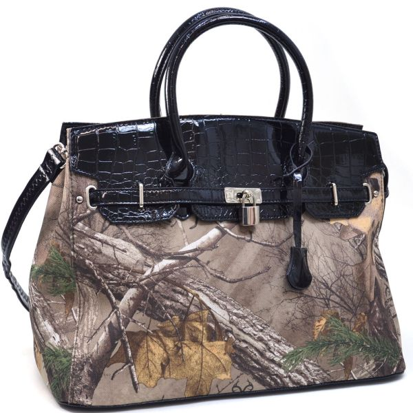 Realtree Women Leather Handbag Camouflage Tote Bag With