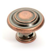Antique Copper Cabinet Hardware 3 Ring Knobs | eBay