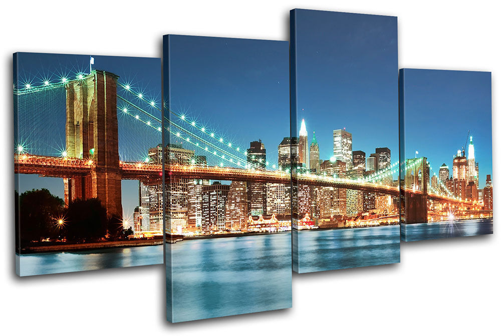 New York Skyline bridge City MULTI CANVAS WALL ART Picture
