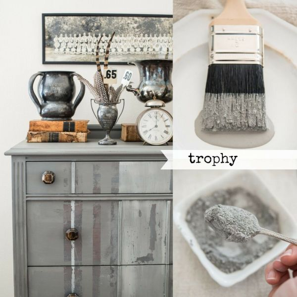 Mustard Seed' Milk Paint - Trophy Silver Gray 1qt Furniture Painting Diy